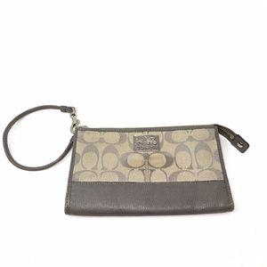 Gray Coach Leather/Fabric Wristlet